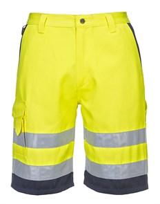 Светоотражающие шорты Portwest E043. Жёлтый/тёмно-синий