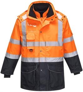 Зимняя сигнальная куртка Portwest S426, 7 в 1, Оранжевый / Темно-синий