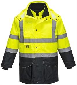 Зимняя сигнальная куртка Portwest S426, 7 в 1, Желтый / Темно-синий