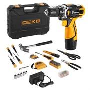 Аккумуляторная дрель + набор 104 инструментов для дома в кейсе Deko DKCD12FU-Li
