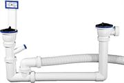 ЗУБР для двухместной мойки, выпуск - нержавеющая чашка, перелив, отвод для стиральной машины, сифон 51867-2