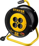 STAYER 50 м, 1300Вт, ПВС 2x0, удлинитель на катушке MS 207 55073-50