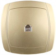 """СВЕТОЗАР 16А/~250В, золотой металлик, одинарная телефонная розетка """"АКЦЕНТ"""" SV-54217-GM"""