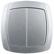 """СВЕТОЗАР 10А/~250В, серебристый металлик, двухклавишный, выключатель """"АКЦЕНТ"""" SV-54234-SM"""