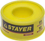 STAYER толщина 0,075 мм, плотность 0,40 г/см3, ширина 19 мм, фум лента 12360-19-040