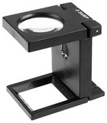 ЗУБР 5 кратное увеличение, d 50 мм, линза из стекла, лупа с подсветкой МАСТЕР 40542-50