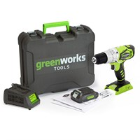 Дрель-шуруповерт аккумуляторная Greenworks G24DDK2, 24V, c 1хАКБ 2 А.ч и ЗУ в кейсе - фото 25094